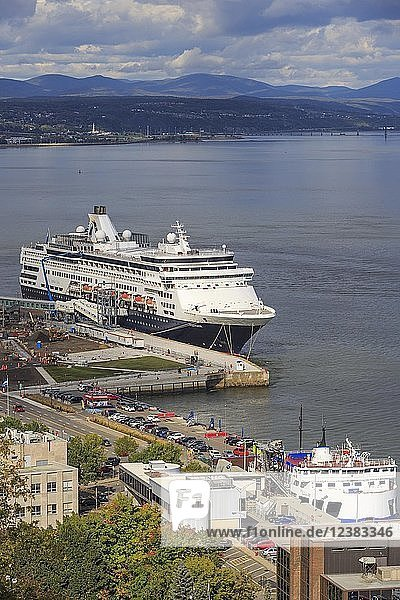 Cruise ship MS Veendam anchors in port  St. Lawrence River  Québec  Québec Province  Canada  North America