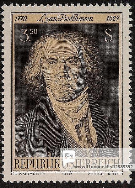 Ludvig van Beethoven  deutscher Komponist und Pianist  Porträt auf österreichischer Briefmarke