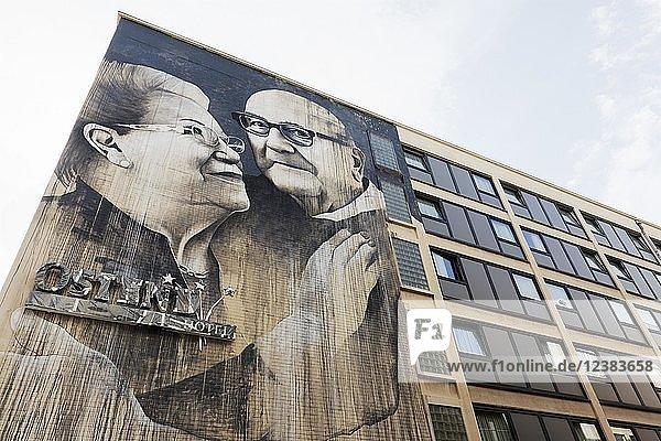 Liebevolles Senioren-Pärchen  Mural des britischen Streetart-Künstelrs Ben Slow  The Crystal Ship Festival 2018 Ostende  West-Flandern  Belgien  Europa