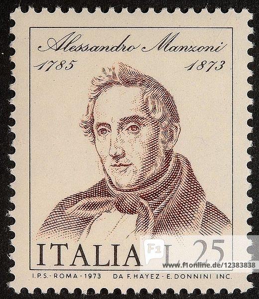 Alessandro Manzoni  italienischer Dichter und Schriftsteller  Porträt auf italienischer Briefmarke