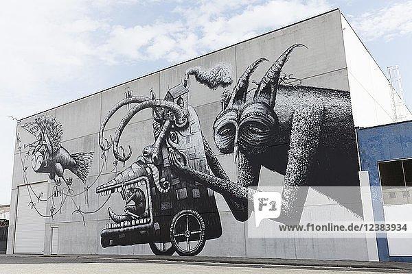 Szene mit Fantasiefiguren  Mural des britischen Streetart-Künstlers Phlegm  The Crystal Ship Festival 2017  Ostende  West-Flandern  Belgien  Europa