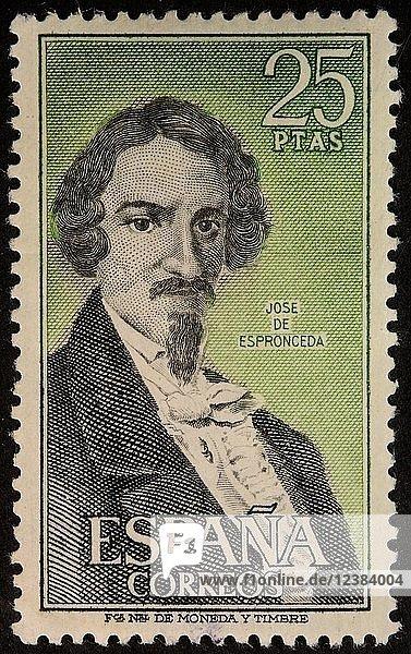 Jose de Espronceda  ein spanischer romantischer Dichter  Porträt auf einer spanischen Briefmarke