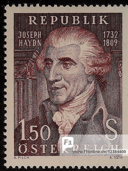 Joseph Haydn  österreichischer Komponist und Musiker  Porträt auf einer österreichischen Briefmarke