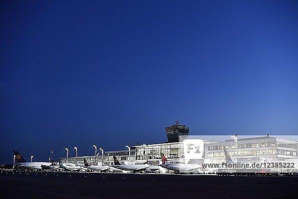 Airlines  Line Up  Terminal 2  bei Nacht  Flughafen München  Oberbayern  Bayern  Deutschland  Europa