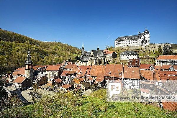 Aussicht auf Schloss und Altstadt  Fachwerkhäuser  Stolberg im Harz  Sachsen-Anhalt  Deutschland  Europa