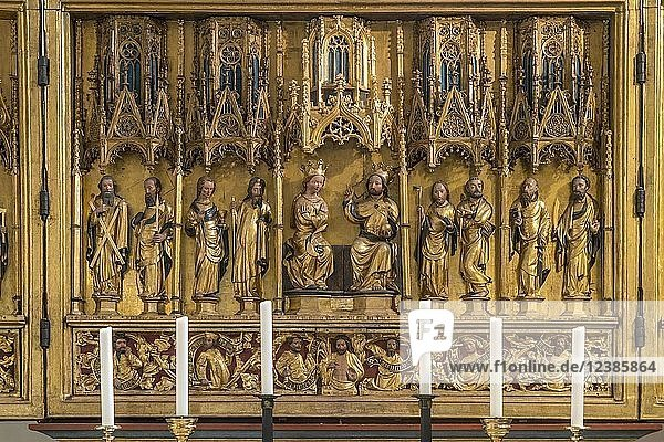 Gothic winged altar  depiction of the Coronation of Mary as Queen of Heaven in the presence of saints  Protestant-Lutheran parish church St. Jacobi  Göttingen  Lower Saxony  Germany  Europe