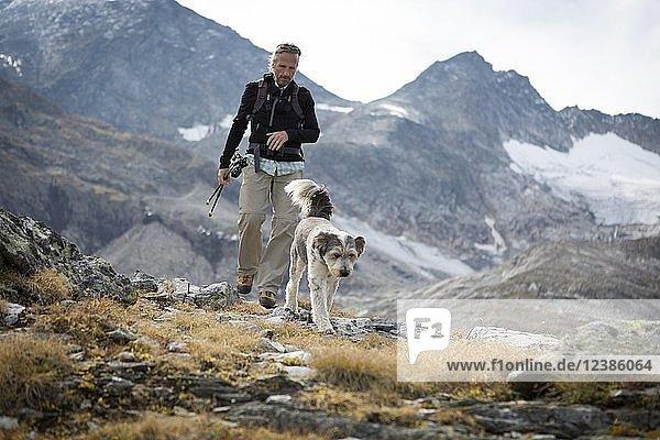Ein Wanderer und sein Hund im Nationalpark Hohe Tauern  Kolm Saigurn  Rauris  Salzburger Land  Österreich  Europa