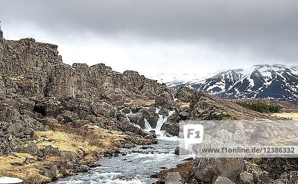Small waterfall of the river Öxará  Pingvellir National Park  Golden Circle  Iceland  Europe
