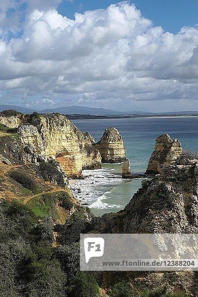 Steilküste an der Ponta da Piedade  Lagos  Algarve  Portugal  Europa