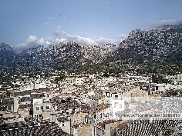 Sea of houses  roofs  picturesque  old town  Sóller  mountains  Serra de Tramuntana  Majorca  Balearic Islands  Spain  Europe
