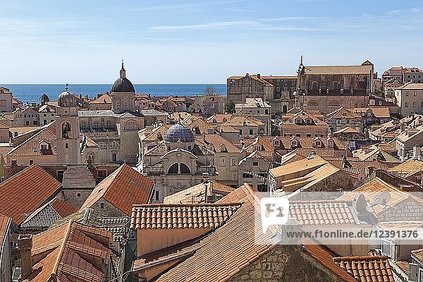 Ausblick von der Stadtmauer auf Dächer der Altstadt mit Kathedrale  St.-Blasius-Kirche und Jesuitenkloster  Dubrovnik  Kroatien  Europa