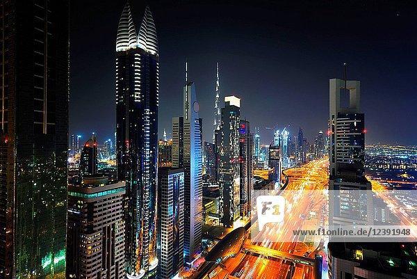 Dubai city buildings at night