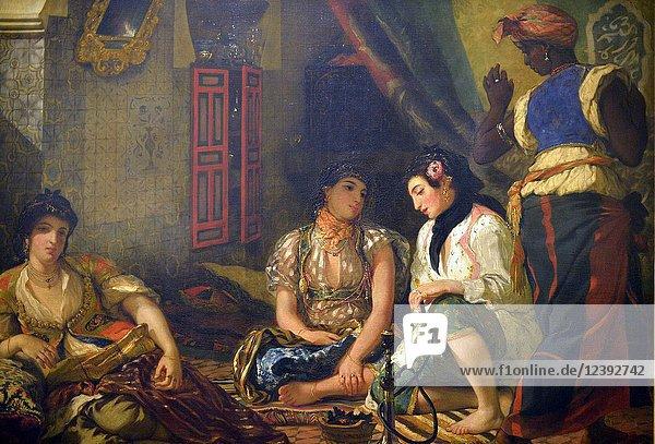 Women of Algiers in their apartment  painting by Eugène Delacroix (1798-1863)  Louvre museum  Paris  France.