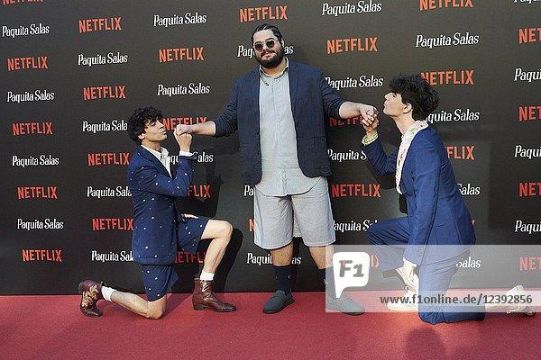 Javier Calvo  Javier Ambrossi  Brays Efe attends 'Paquita Salas' Netflix Series Premiere at Callao Cinema on June 28  2018 in Madrid  Spain