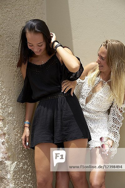 Two young women in holiday destination. Malia  Crete  Greece.