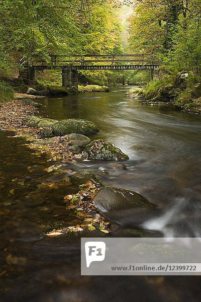 Ash Bridge over the East Lyn River in Exmoor National Park  Devon  England.