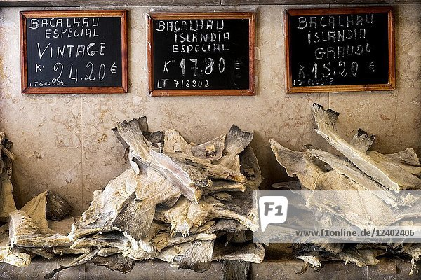 Shop of sale of cod. Lisbon  Portugal.