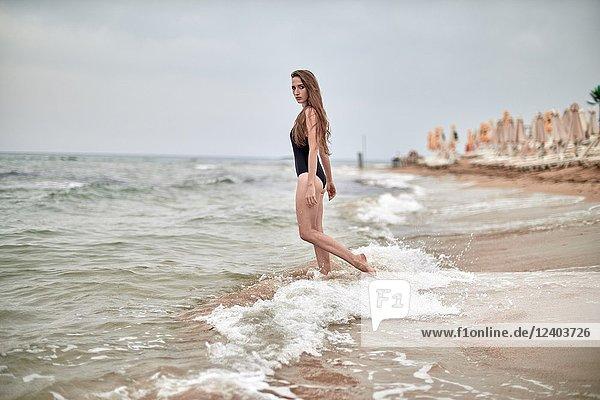 Greece  Crete  Malia  woman at the beach