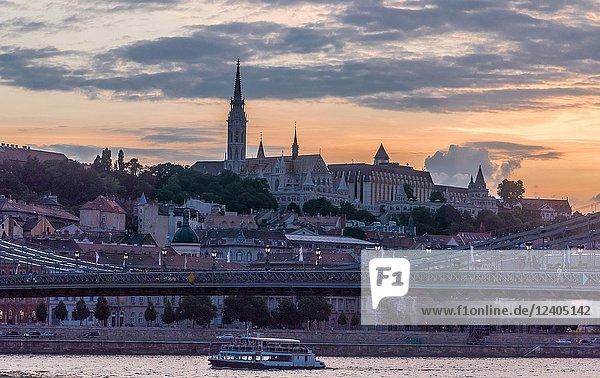 Panoramic night view of Budapest from the Danube. Budapest. Hungary.