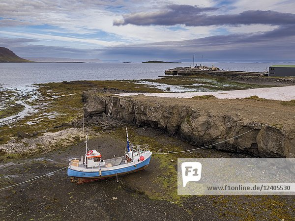 Old Fishing Boat  Bardastrond beach  Brjanslaekur  West Fjords  Iceland.
