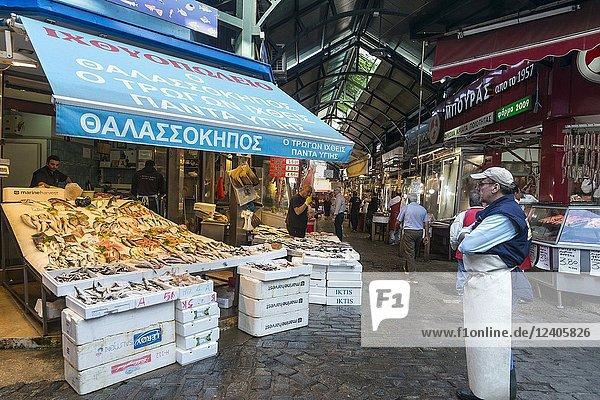 Fish stalls at Modiano Market  Thessaloniki Macedonia  Northern Greece.