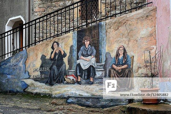 Wall painting  Orgosolo  Nuoro province  Sardinia  Italy.