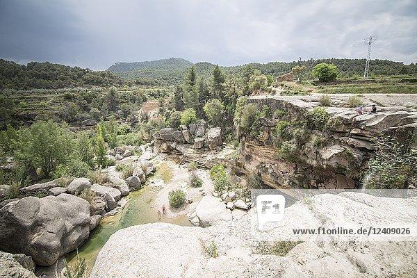El Salt waterfall in Matarranya county Teruel Aragon Spain.