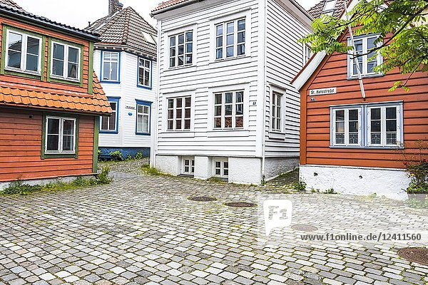 Old town of Bergen with wooden houses  Norway.
