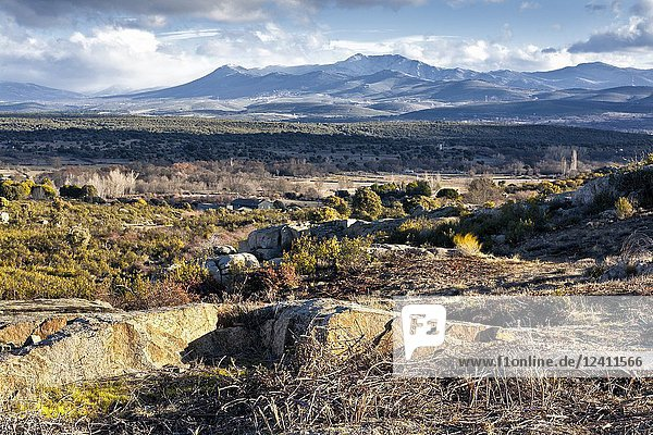 Sierra Norte from the Cabreras on a sunny day. Madrid. Spain.