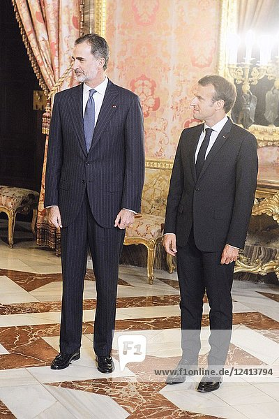 King Felipe VI of Spain  Emmanuel Macron attends a dinner with President of the Republic of France at Royal Palace on July 26  2018 in Madrid  Spain