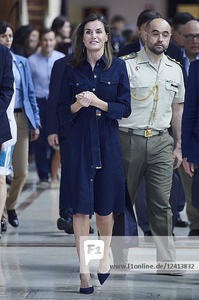 Queen Letizia of Spain visits to activities of the summer courses of the International School of Music of the Princess of Asturias Foundation at the Prince Felipe Auditorium on July 26  2018 in Oviedo  Spain.