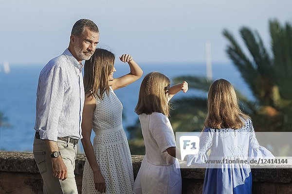 King Felipe VI of Spain  Queen Letizia of Spain  Crown Princess Leonor  Princess Sofia pose for the photographers during the summer session at Almudaina Palace on July 29  2018 in Palma  Spain