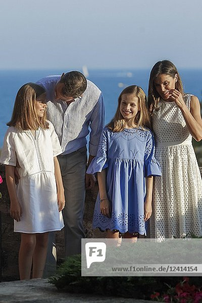 King Felipe VI of Spain,  Queen Letizia of Spain,  Crown Princess Leonor,  Princess Sofia pose for the photographers during the summer session at Almudaina Palace on July 29,  2018 in Palma,  Spain
