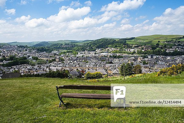 View over the town of Hawick in the Scottish Borders  Scotland  UK.