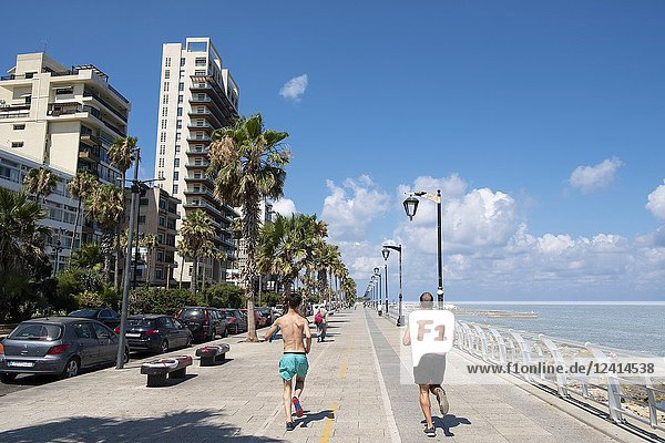 Joggers running on the Corniche in Beirut  Lebanon.