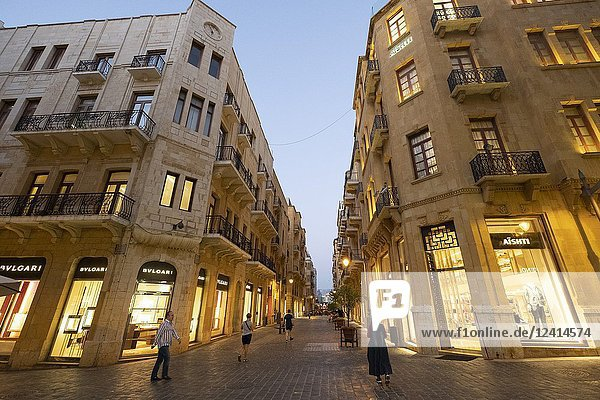 Fashion boutiques on street in restored Downtown district Beirut  Lebanon.