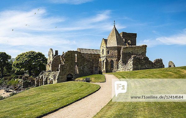 View of Incholm Abbey on Inchcolm Island in on the Firth of Forth river in Scotland  UK  United Kingdom.