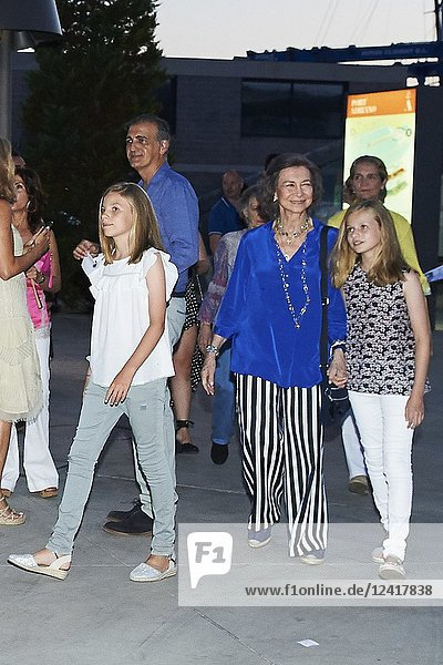 King Felipe VI of Spain  Queen Letizia of Spain  Queen Sofia of Spain  Crown Princess Leonor  Princess Sofia attends Ara Malikian Concert at Porto Adriano on August 2  2018 in Mallorca  Spain