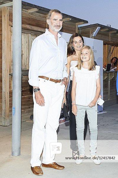 King Felipe VI of Spain  Queen Letizia of Spain  Queen Sofia of Spain  Crown Princess Leonor  Princess Sofia  Princess Elena  Irene of Greece attends Ara Malikian Concert at Porto Adriano on August 2  2018 in Mallorca  Spain