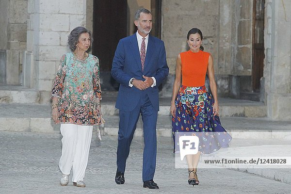Queen Letizia  Queen Sofia and King Felipe attend the authorities dinner at Almudaina palace in Palma de Mallorca  Spain on the 3rd of August of 2018
