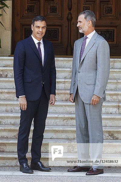 King Felipe recieves President Pedro Sanchez for lunch at Marivent palace on the 6th of August of 2018
