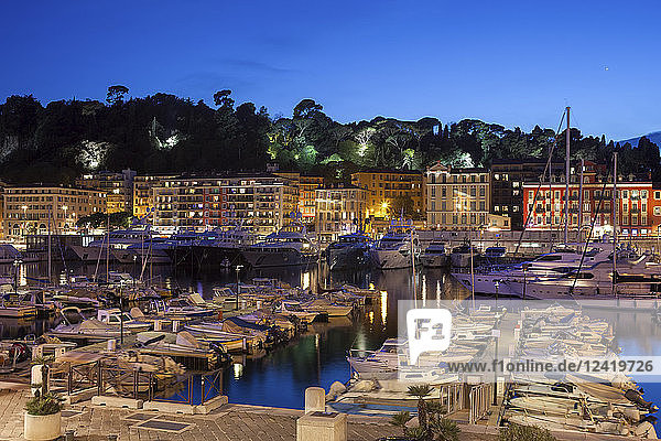 France  Provence-Alpes-Cote d'Azur  Nice  Port Lympia at blue hour