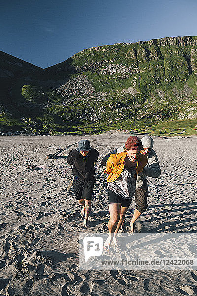 Norway  Lofoten  Moskenesoy  Group of young men preparing camp at Kvalvika Beach