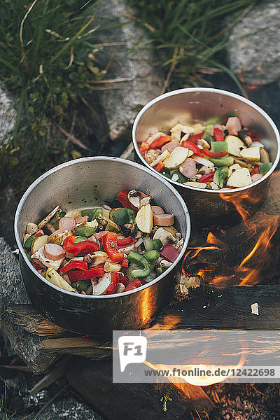 Norway  Lofoten  Moskenesoy  Food cooking on camp fire