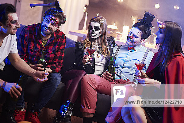 Creepy friends at Halloween party