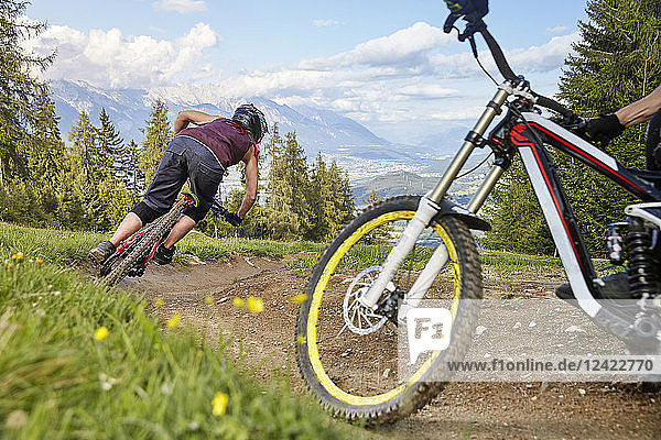 Austria  Tyrol  female downhill mountain biker