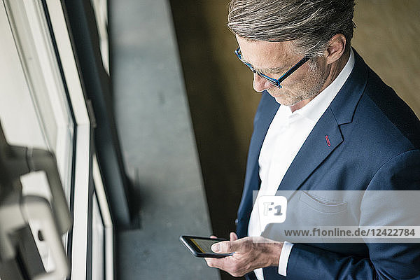 Mature businessman standing at the window using cell phone