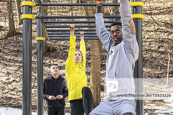 Friends exercising at monkey bars in a park