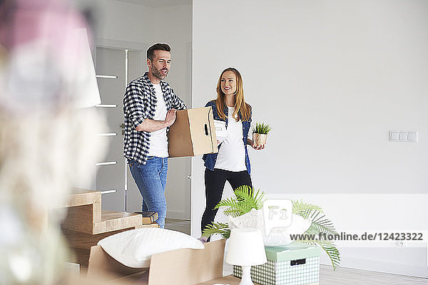 Happy couple moving into new flat carrying cardboard box and plant Happy couple moving into new flat carrying cardboard box and plant