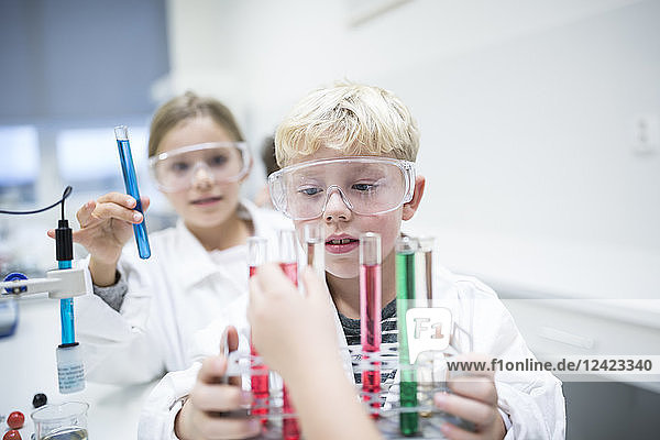 Pupils experimenting with test tubes in science class